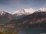 Eiger, Mönch und Jungfrau von Beatenberg aus mit Thuner See